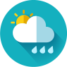 cloudy with rain and a touch of sun icon